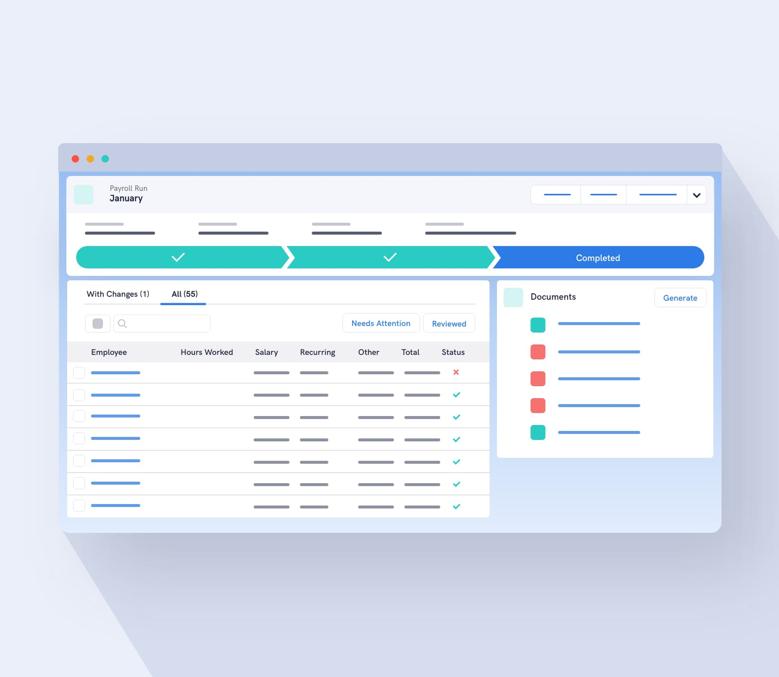 Organised payroll stage system