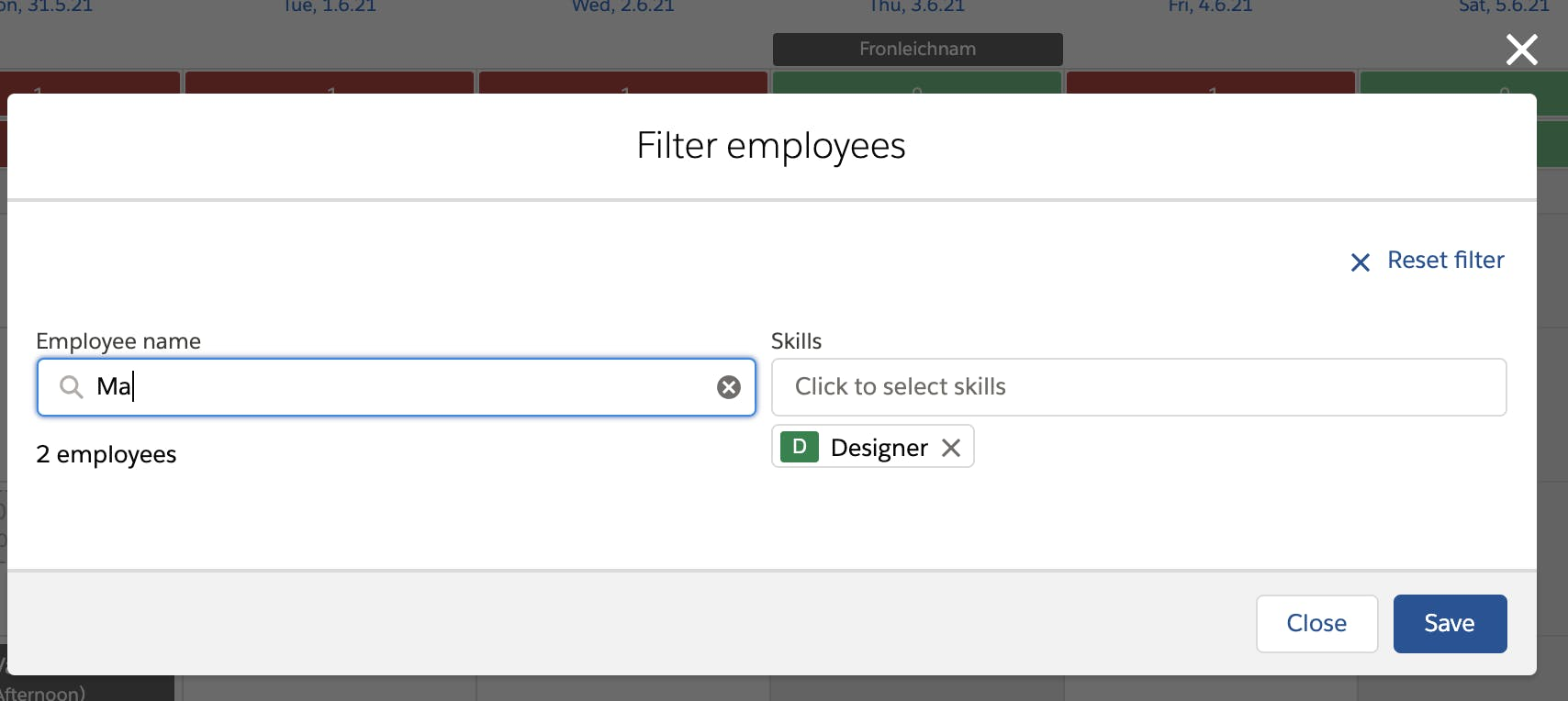 Flair's Shiftplanner: Filter Employees by Name and Shifts