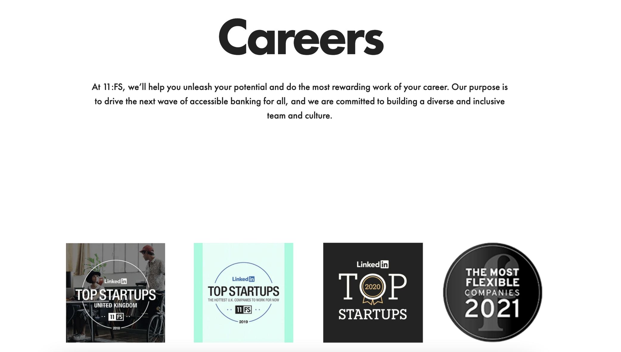 """11:FS's careers page displaying the black """"most flexible companies"""" stamp"""