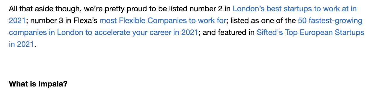 Impala mention being the 3rd most flexible company in their job descriptions