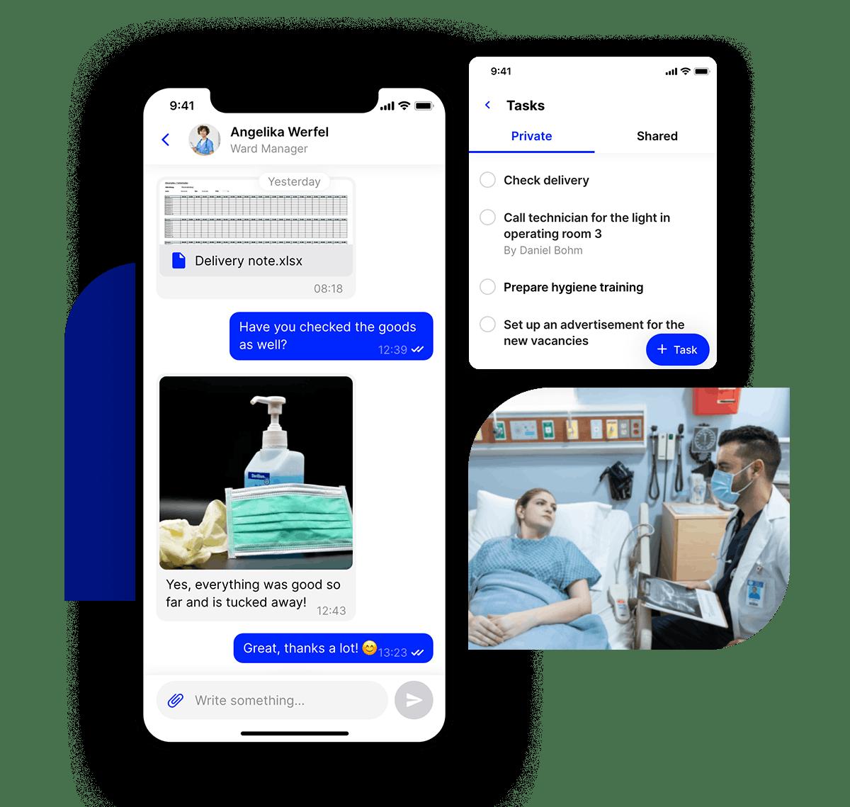 employee app Flip hospital Chat & tasks