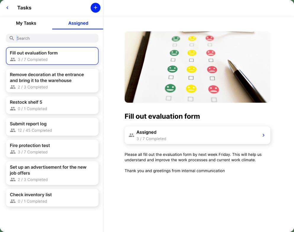 employee app Flip task list