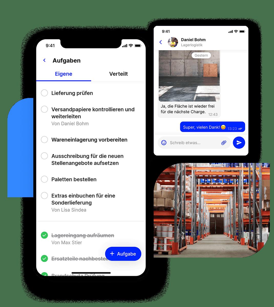 Mitarbeiter App Flip Aufgaben