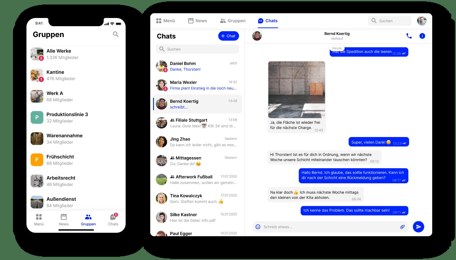 Mitarbeiter App Flip Desktop und Mobil