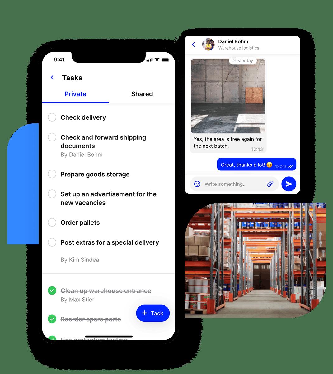employee app logistics tasks