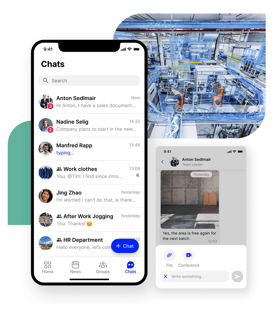 Flip employee app manufacturing production Chat