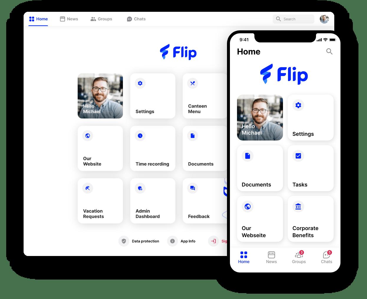 employee app Flip menu overview
