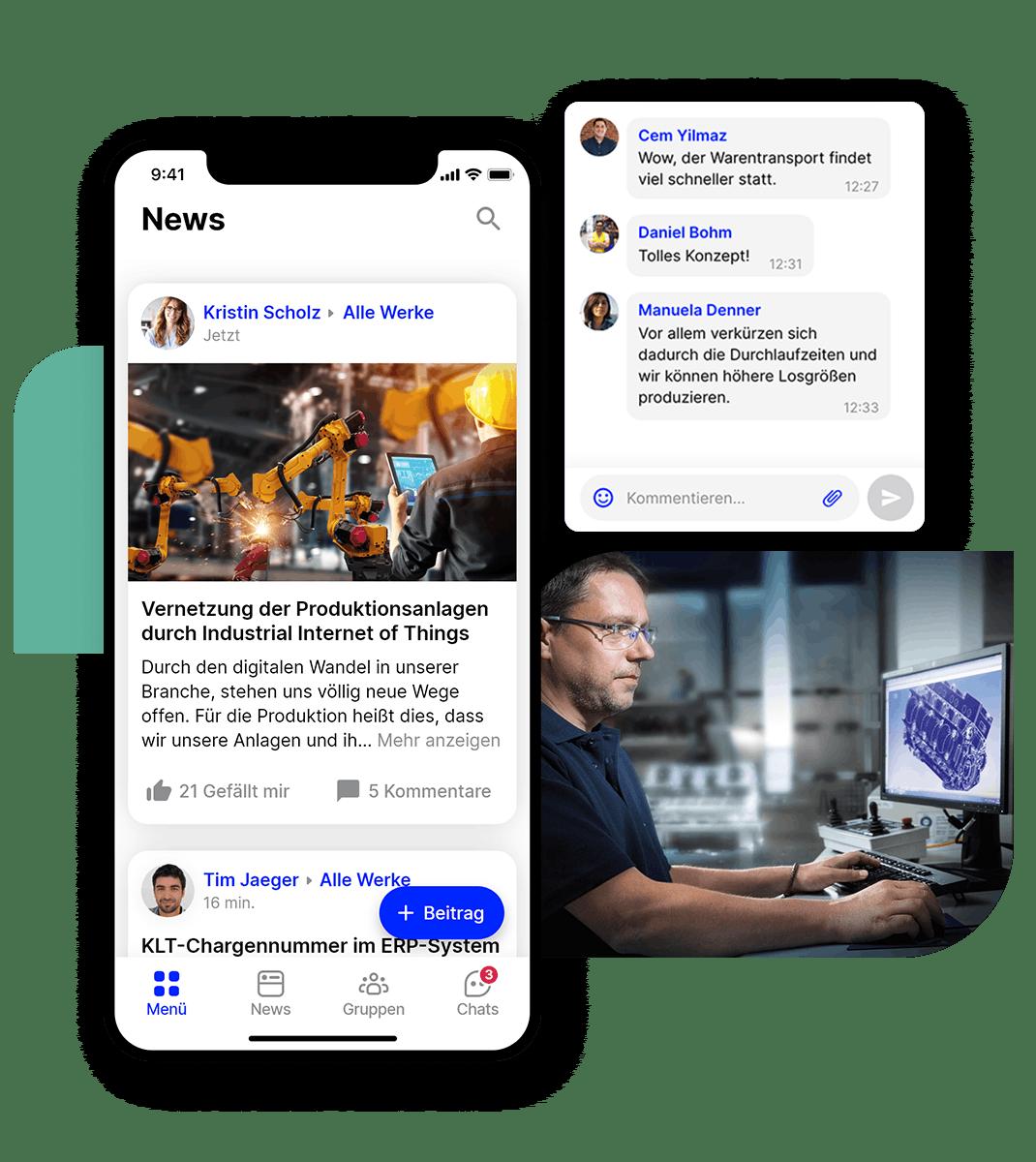 Flip Mitarbeiter App Newsfeed