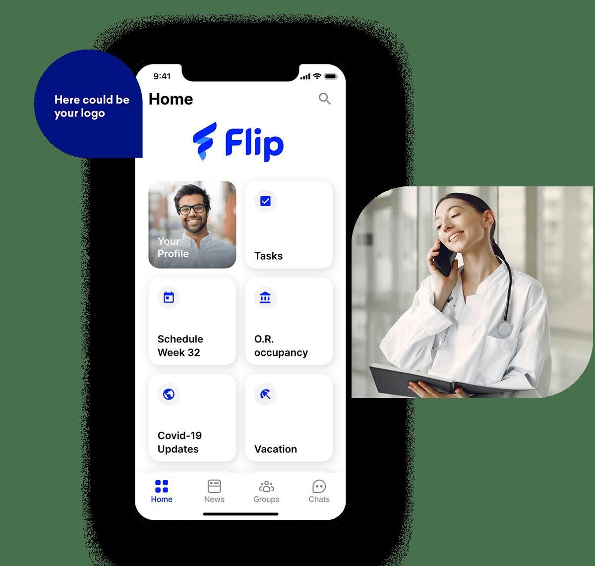 employee app Flip hospital Smartphone & Logo
