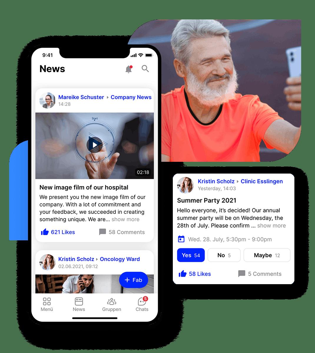employee app Flip hospital Newsfeed