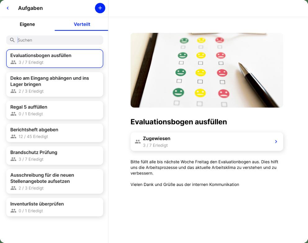 Flip Mitarbeiter App Aufgabenliste