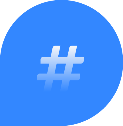 blaue Bubble mit Hashtag