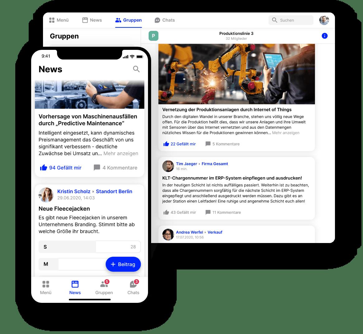 Mitarbeiter-App Flip Newsfeed verschiedene Endgeräte