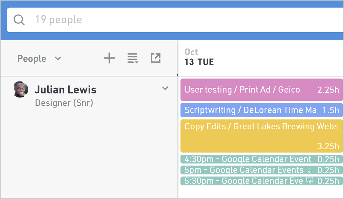 Sync Google Calendar events with resourcing