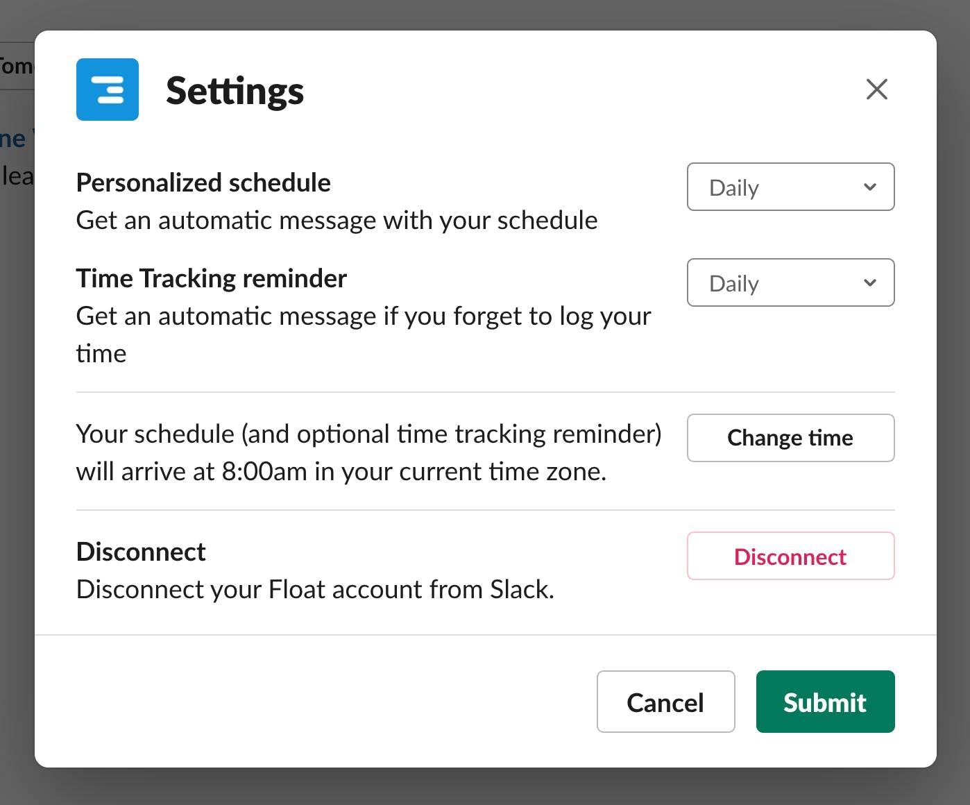 Float Notifications App on Slack