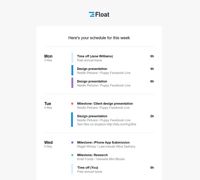 Float Weekly Resource Calendar Schedule