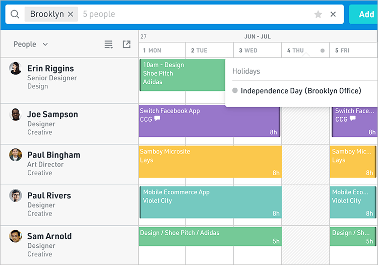Managing holidays at different timezones