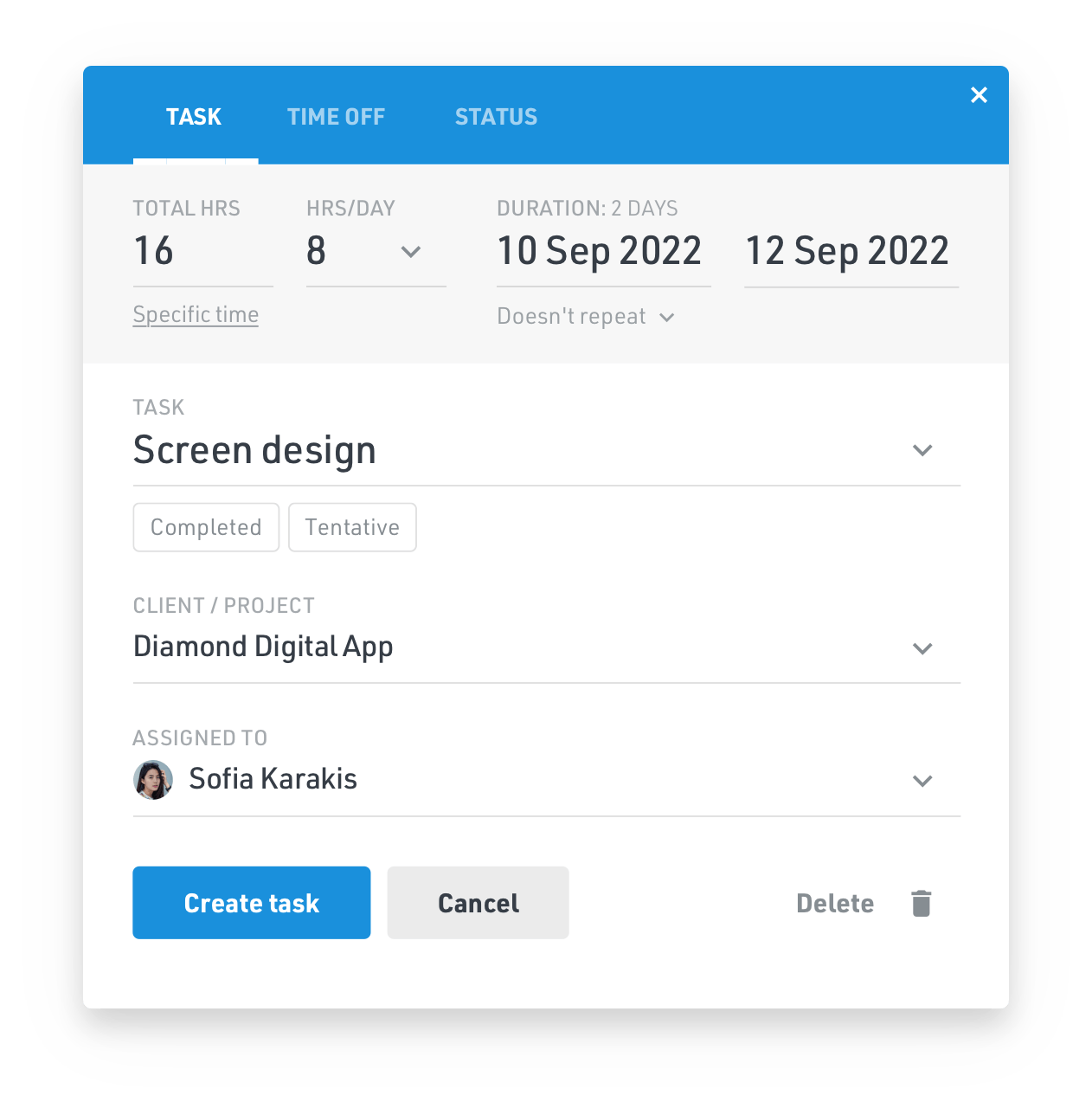 Add a task, time off and set a status to a team member