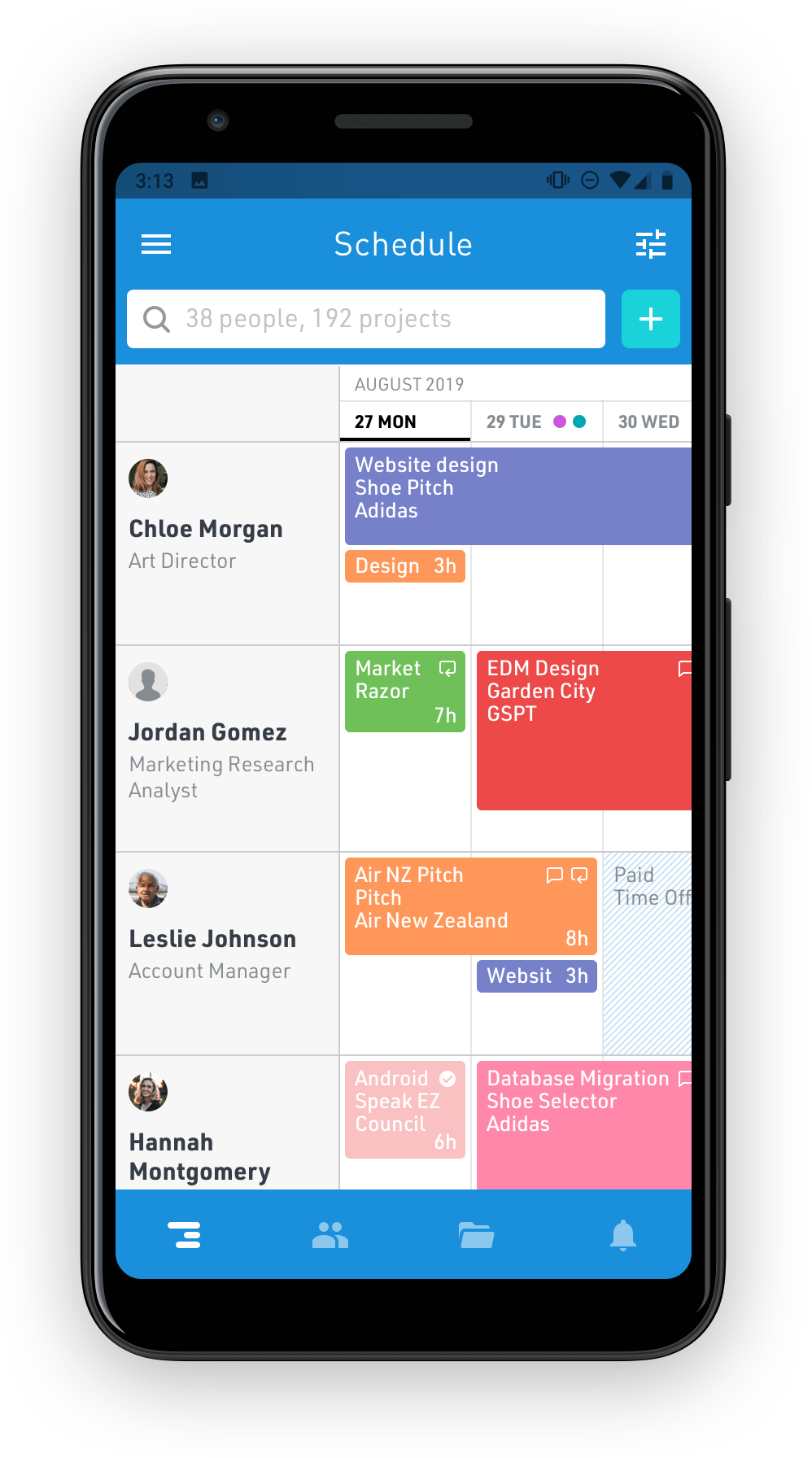 Float schedule on Android mobile app