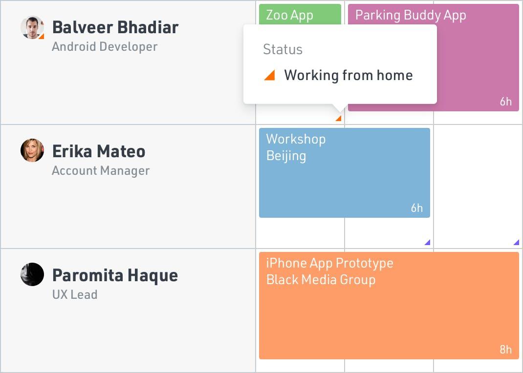 Scheduled status screenshot