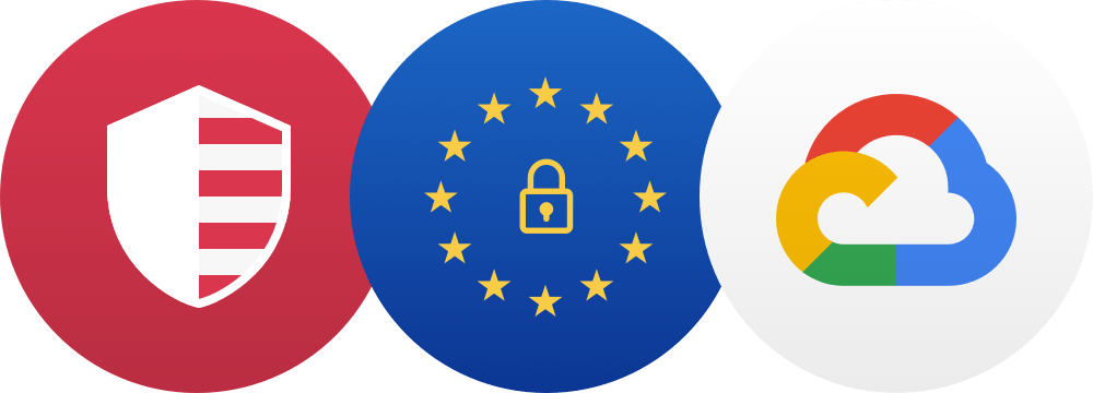 Privacy Shield and GDPR compliant badges, and Google Cloud hosted icon