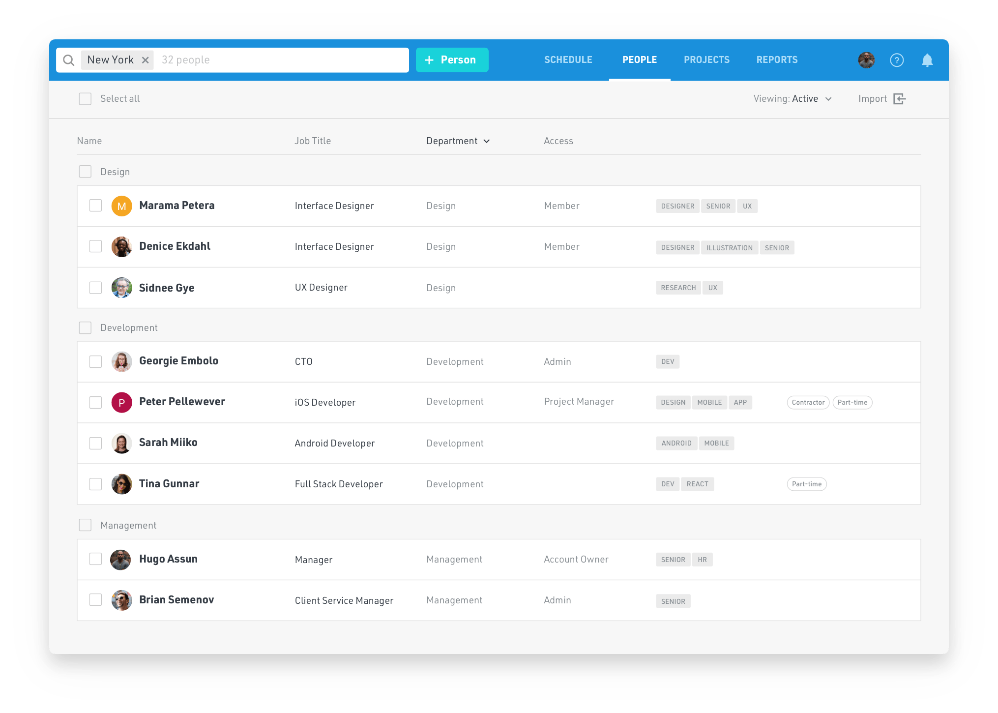 Screenshot of Float and viewing your team by people, roles, departments and tags.