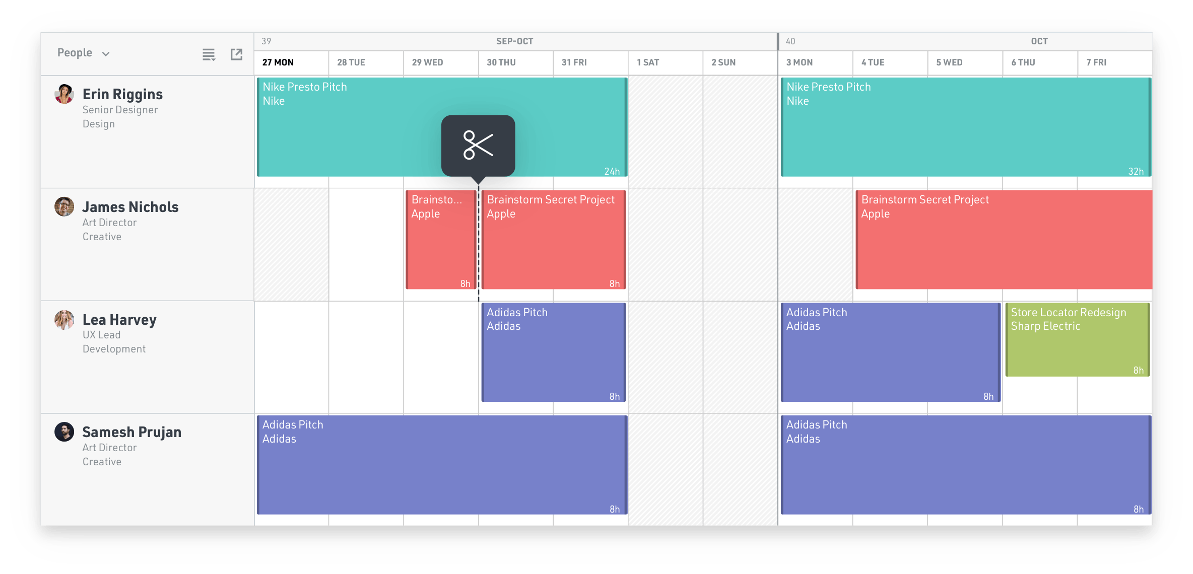 Screenshot of editing a schedule in Float using right-click menu and shortcuts