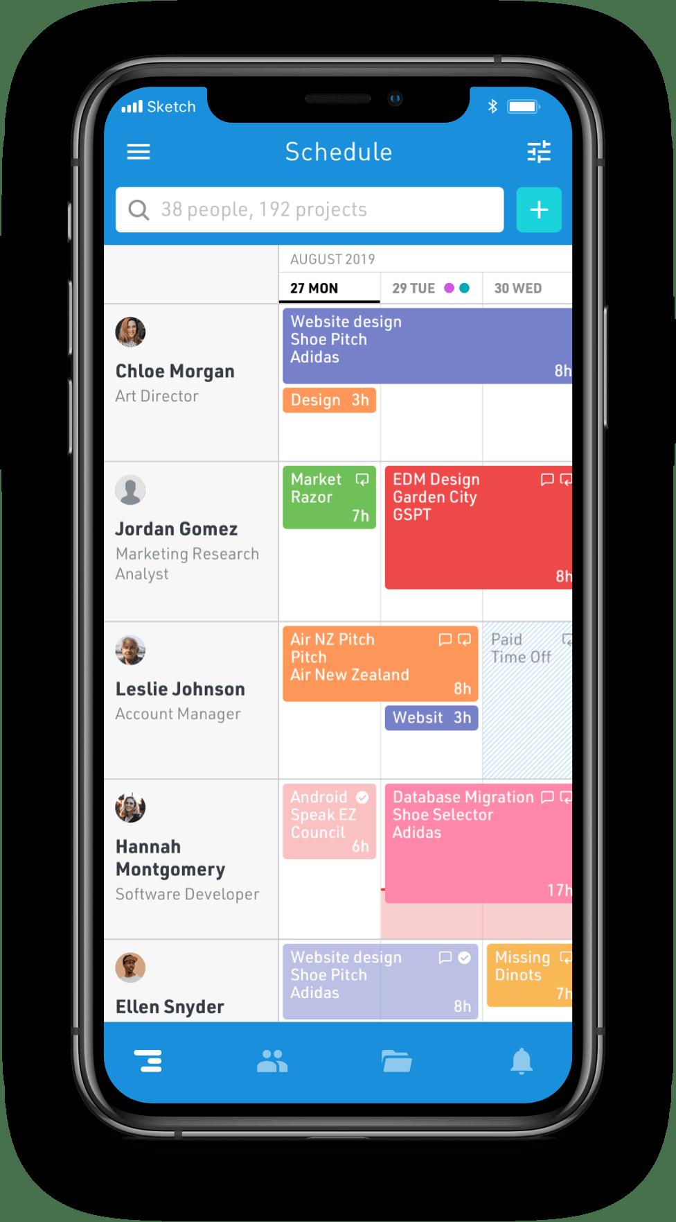 Screenshot of Float schedule on mobile iOS app