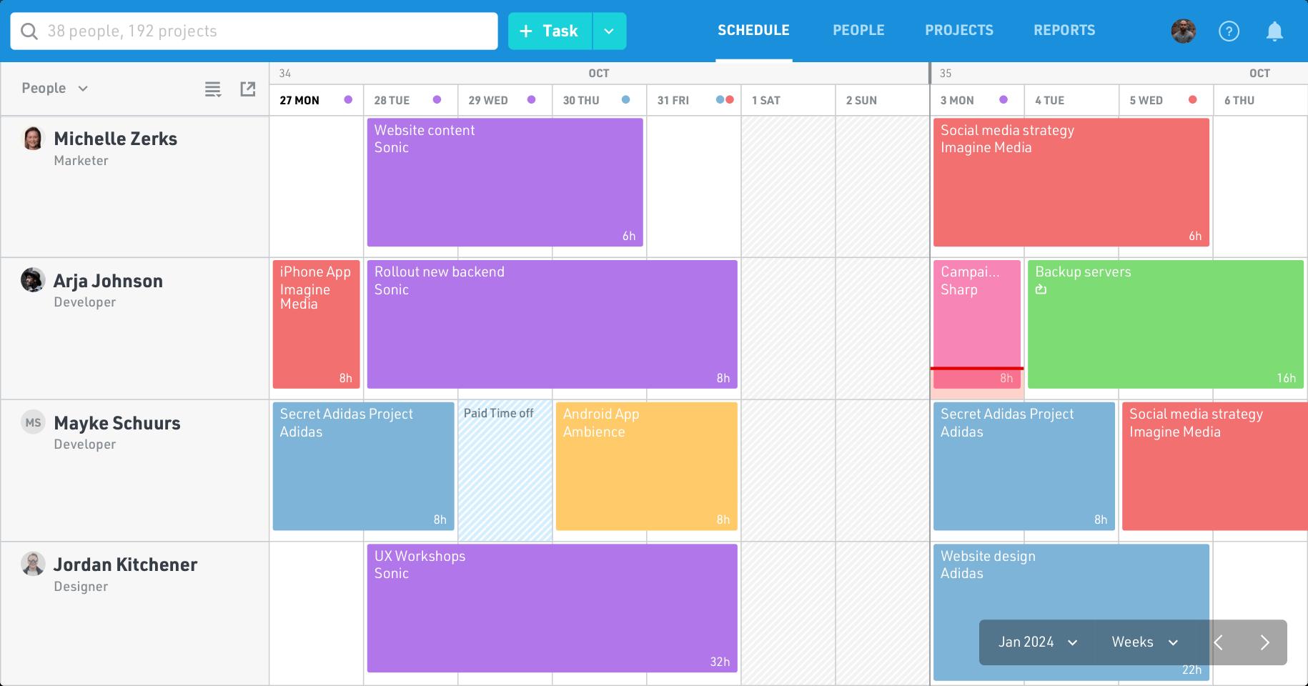 Float schedule web app shot in people view
