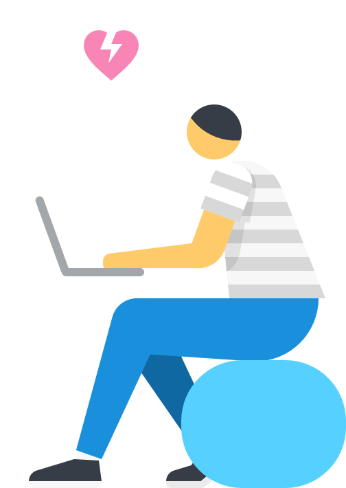 Man working remotely for Float on laptop illustration