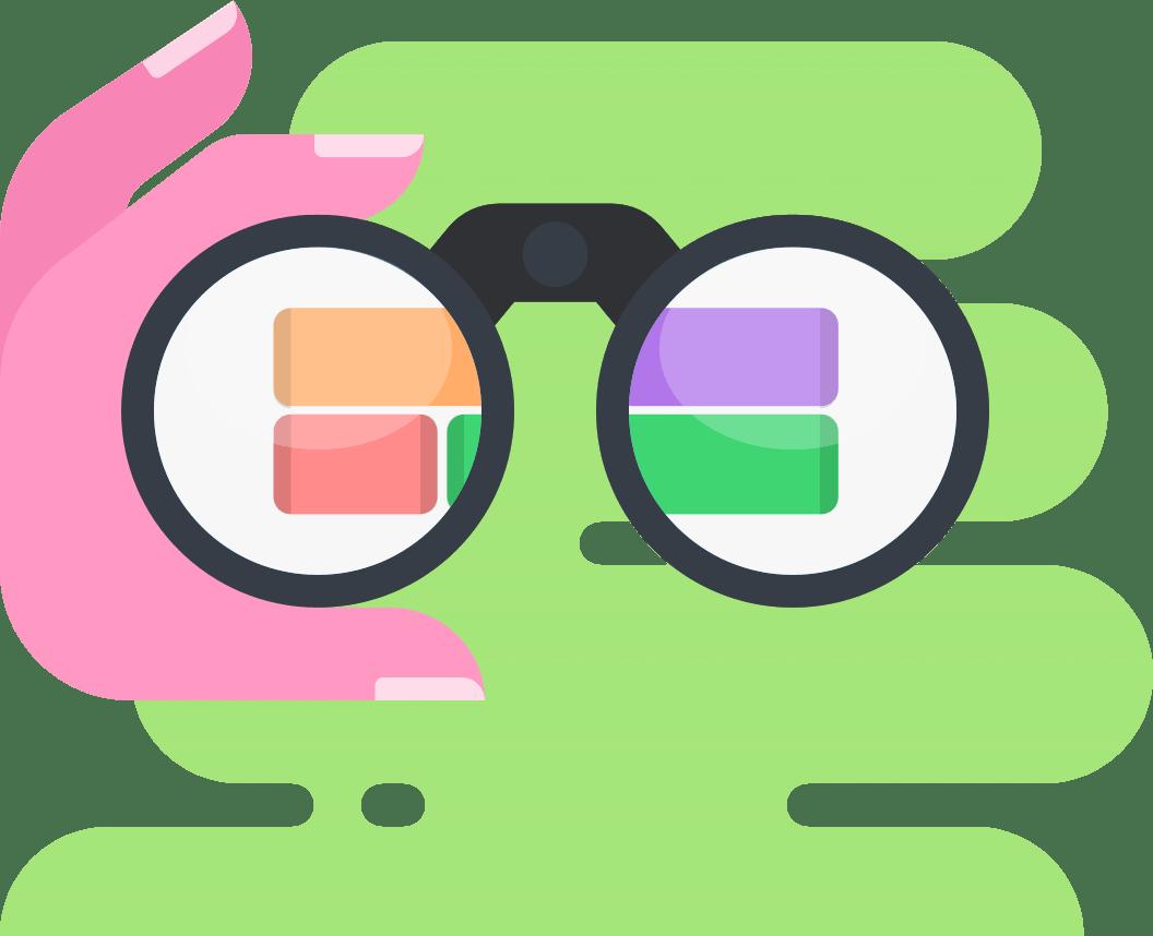Binoculars looking ahead at project schedule illustration