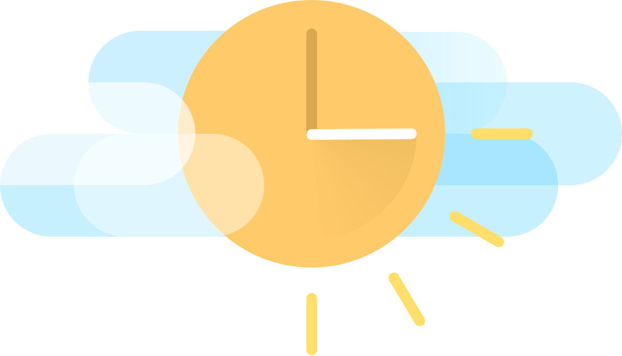 Clock illustration saving three hours of time with Float