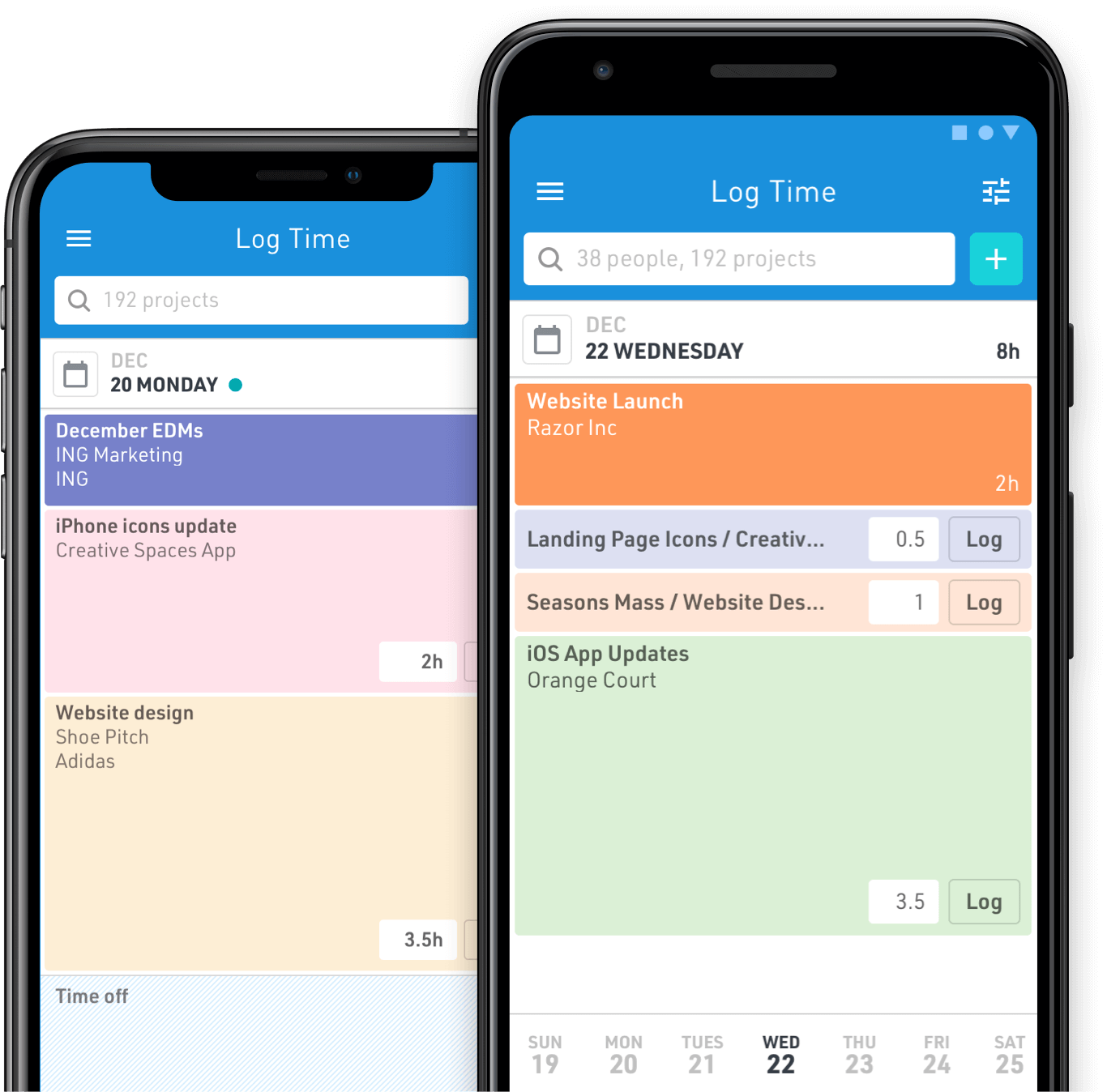 Product shot of Float mobile apps to log hours on the go