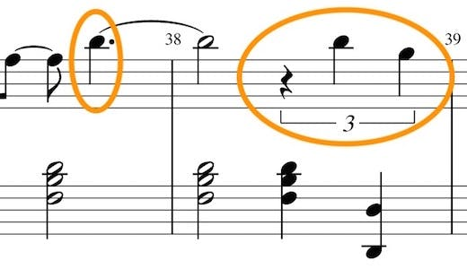 Sheet music example with dotted notes and triplets