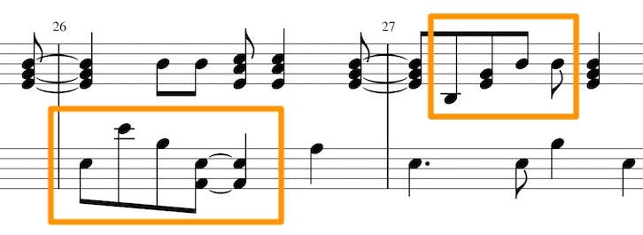 Sheet music example of a more difficult song