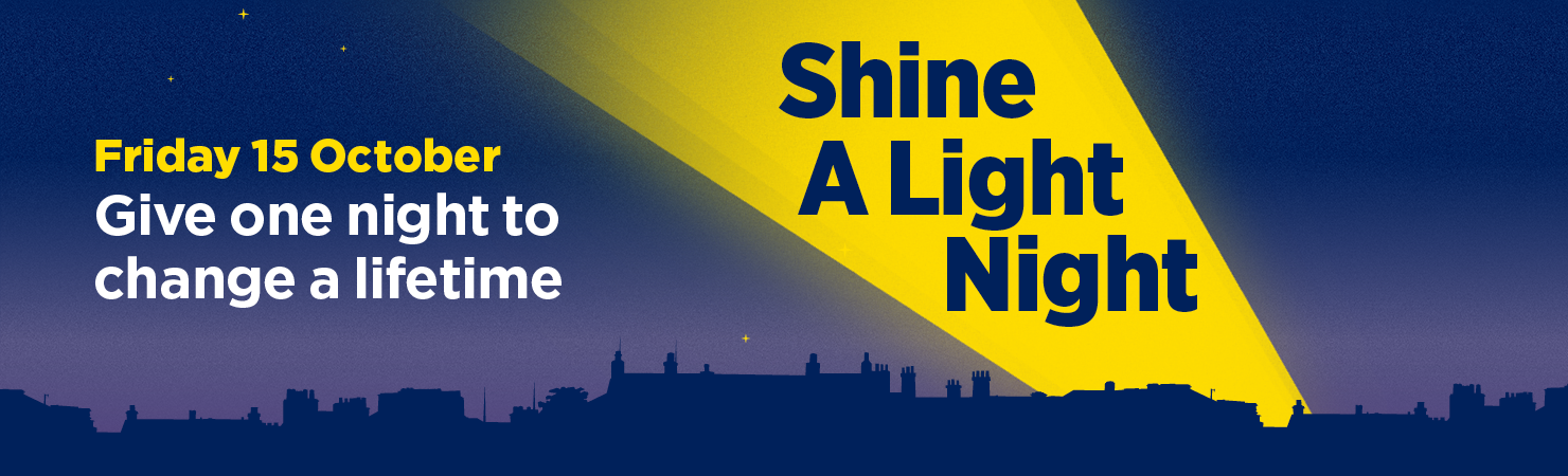 Shine a Light Night Banner - Ireland at night illustration with a yellow torch shining 'Shine a Light Night' to the right and 'Friday 15th October - Give one night to change a lifetime' on the left