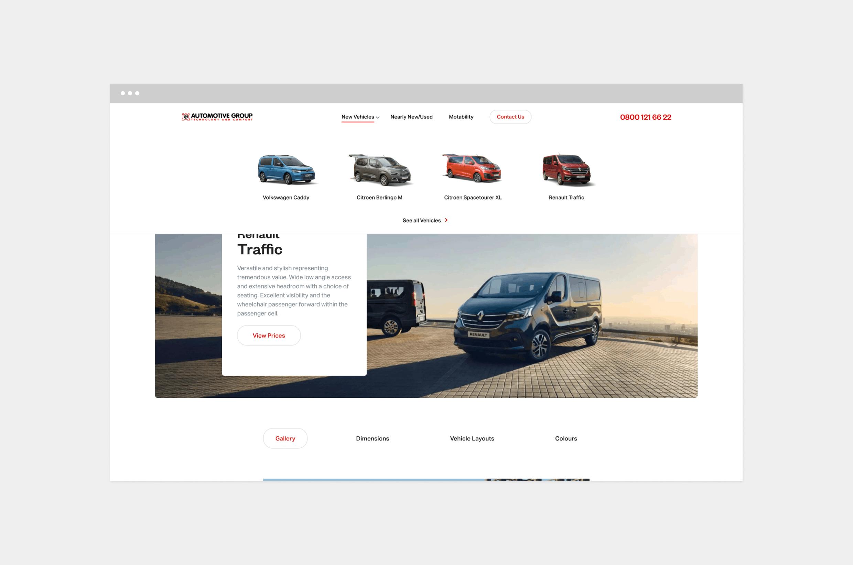 car dealer website design vehicles listing