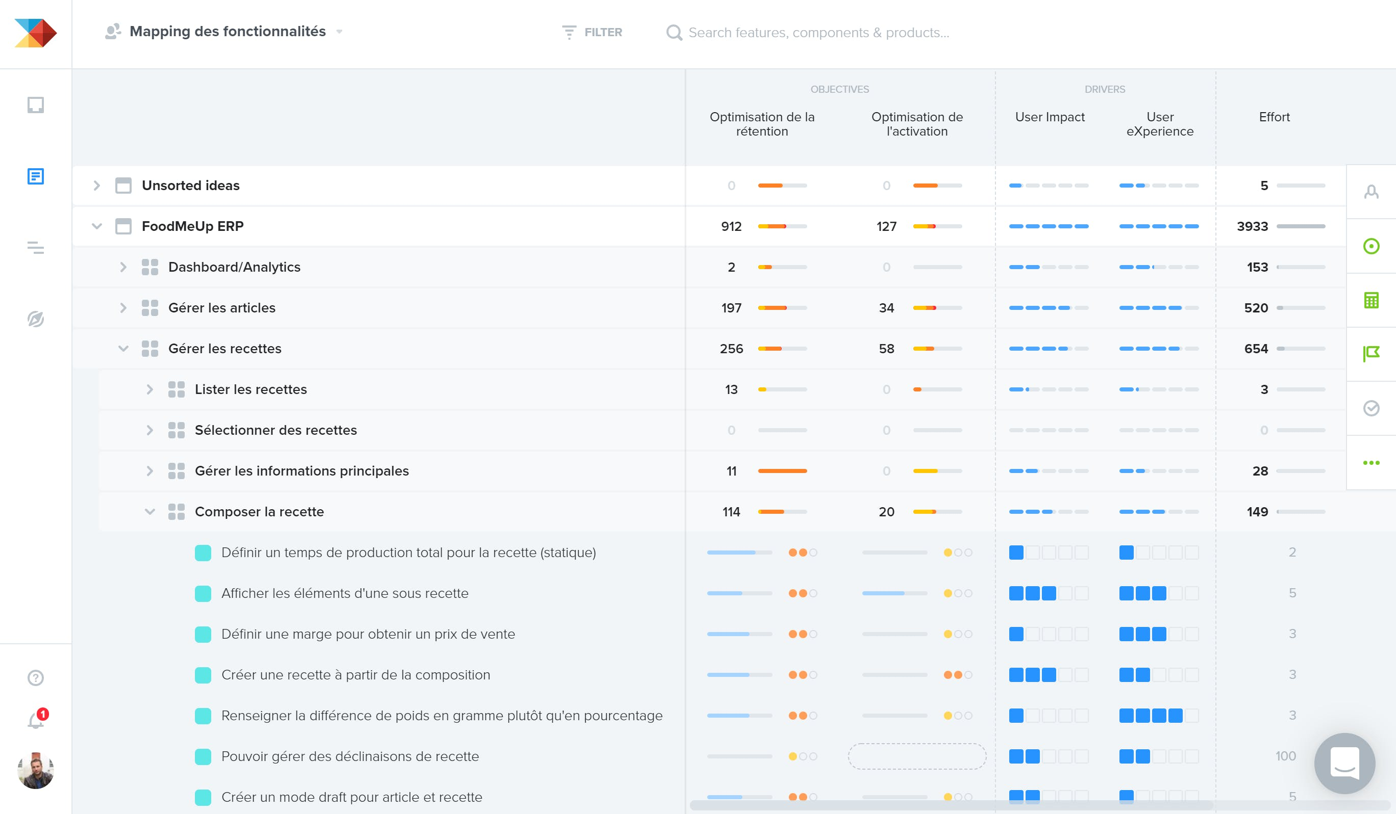 Lean : la hiérarchisation des fonctionnalités sur productboard