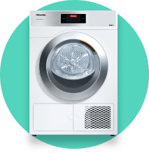 Icon with Miele Little Giants Dryer on green background