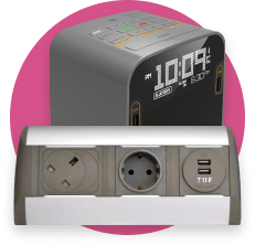 An Icon with Audio and Visual equipment on pink background