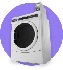 Icon with Maytag coin-op machine, on violet background