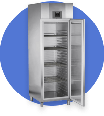 Icon with commercial refrigerator, on blue background