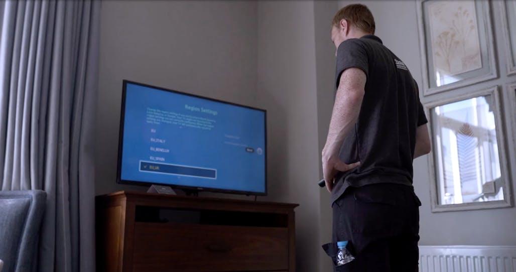Forbes Professional Engineer Setting Up TV Information Solution - Dart Marina Hotel, Devon, Dartmouth
