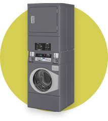 Icon with Stacked Washer Dryer on yellow background