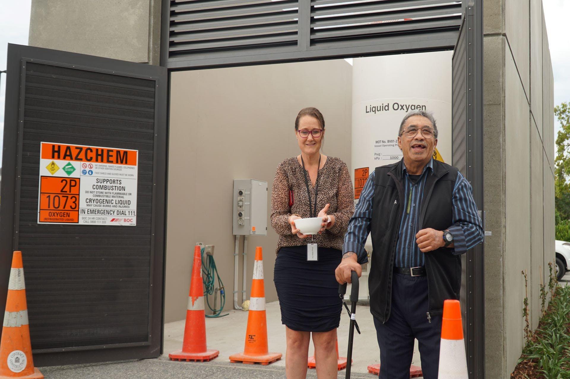 Kaumatua Kawiti Waititi at the blessing and celebration of Forté Health's new oxygen supply system.