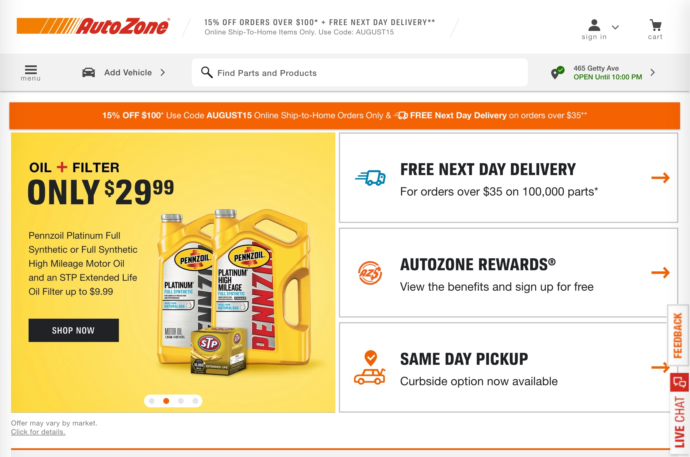 auto zone website preview