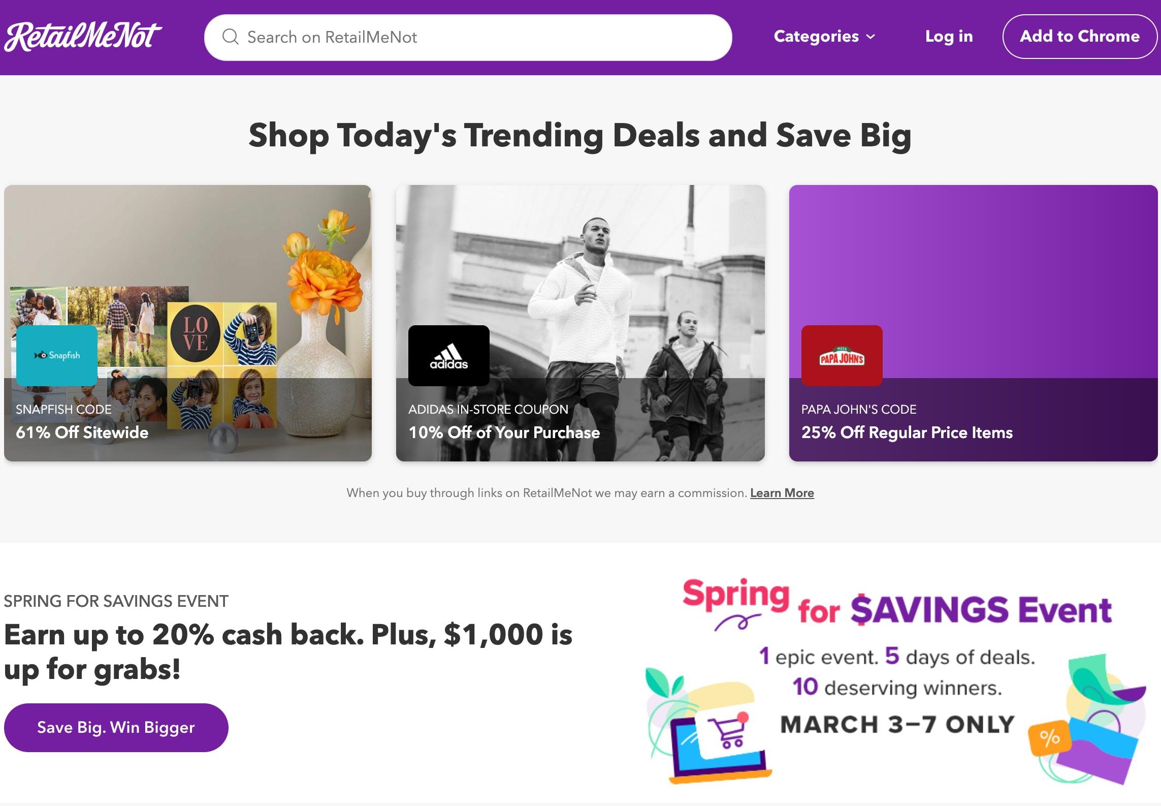 Retailmenot website - online coupon codes