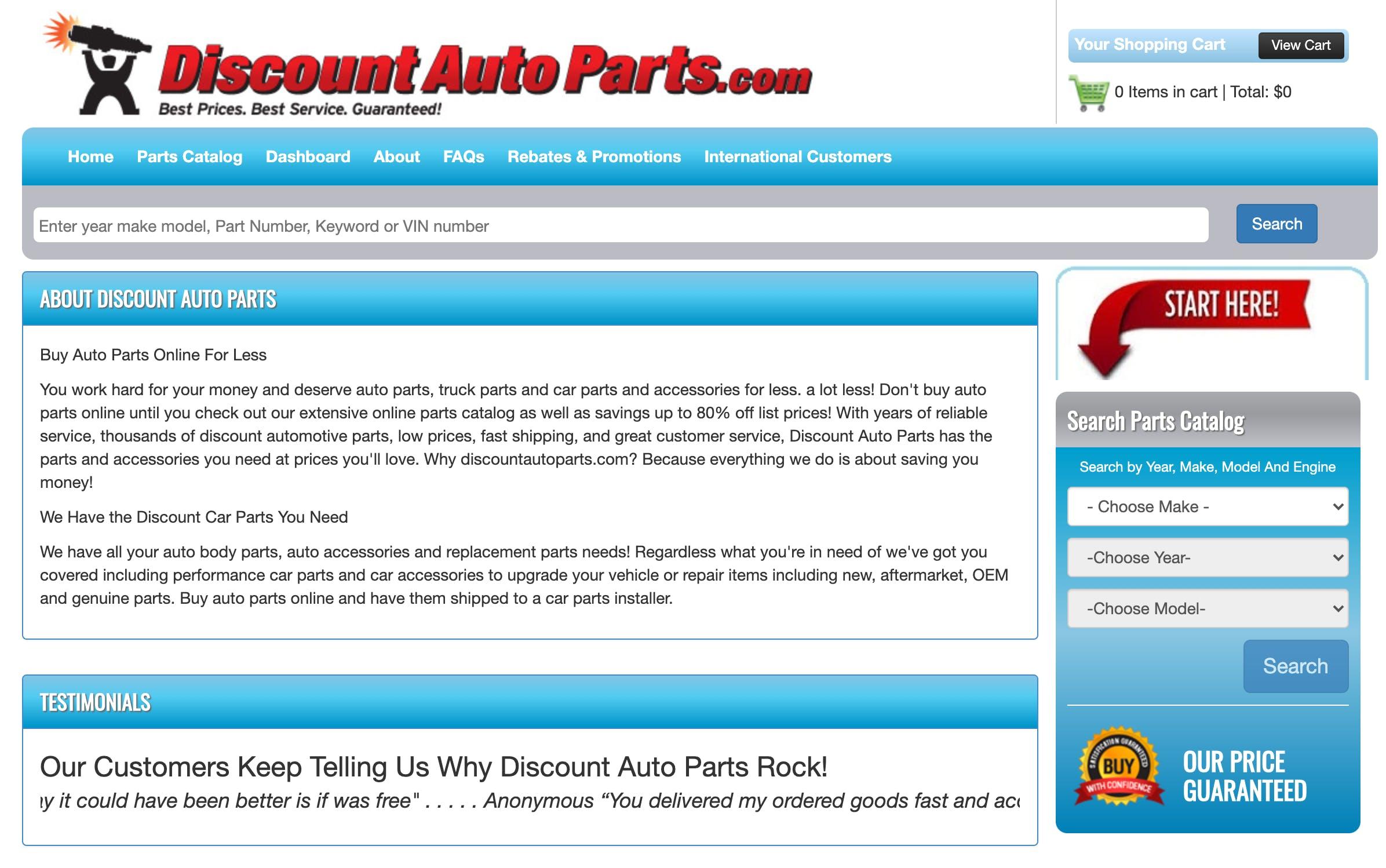 discountautoparts.com website