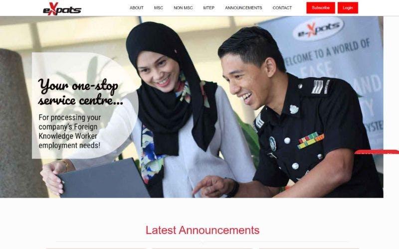 eXpats Service Centre website