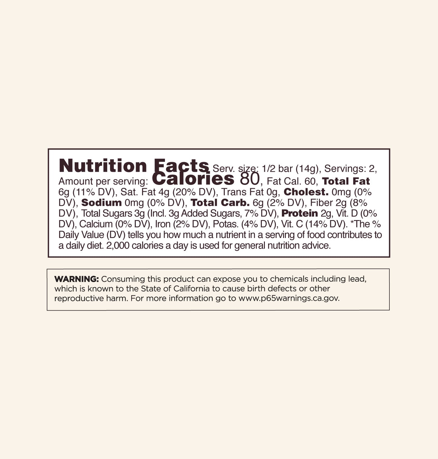 Chocolate Nutrition Facts Panel